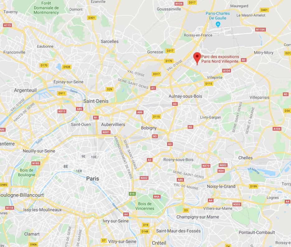 batimat villepinte carte maps itinéraire 2019